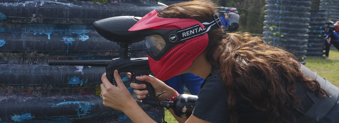 Girl Playing Paintball at Extreme Rage Paintball Park of Fort Myers